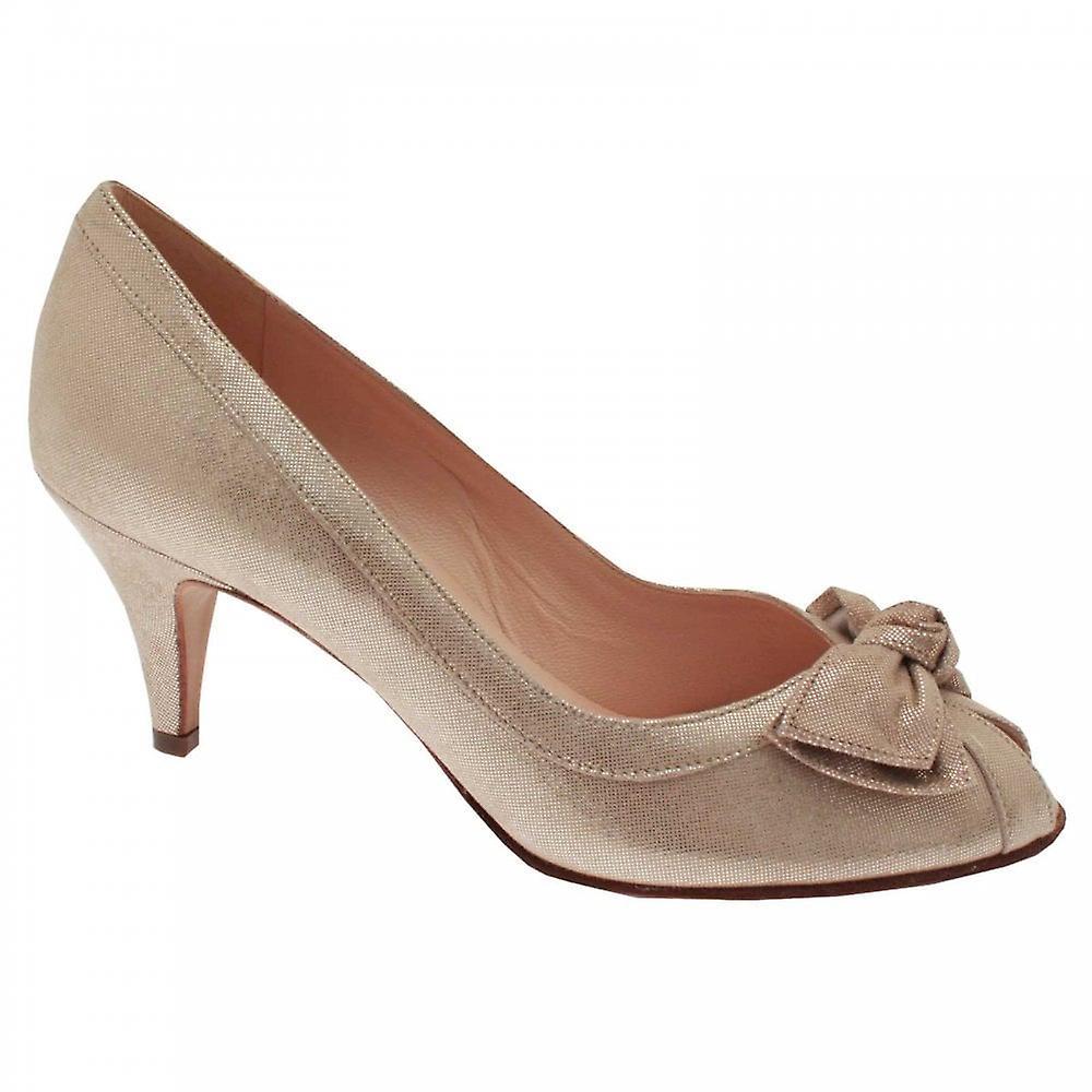 Peter Kaiser Satyra Gold Bow Peep Toe Court Shoe EzHYe