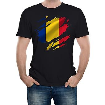 Reality glitch torn romania flag mens t-shirt