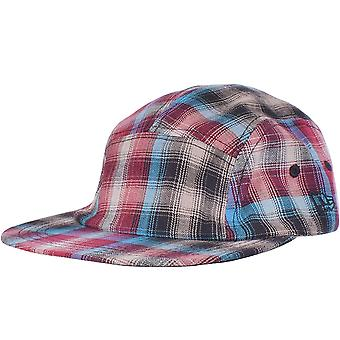 New Era Mens 5 Panel Camper Style Baseball Cap Hat -  Plaid Blue Maroon