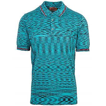MISSONI Missoni Turquoise Striped Short Sleeve Polo Shirt