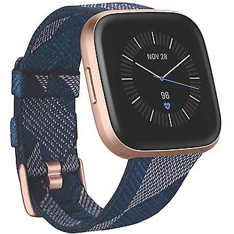 Fitbit Versa 2 Special Edition, Health & Fitness Smartwatch with Voice Control, Sleep Score & Music - SE Navy & Pink Woven