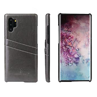 Pour Samsung Galaxy Note 10 Plus Case Grey Deluxe PU Leather Back Shell Cover