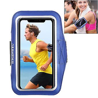 For Samsung S10 PLUS & iPhone XS MAX Case Dark Blue PVC Leather Sports Armband