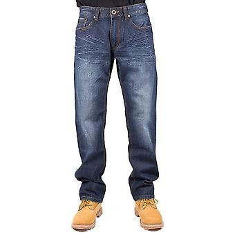 CAT Lifestyle Mens Trax Slouch Leather Patch Jean Trousers