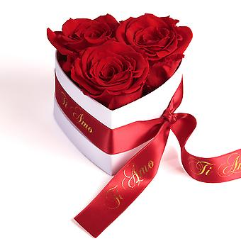 Ti Amo Roses Heart Box 3 Eternal Roses in Red Durable 3 Years