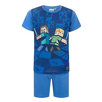 Minecraft Surrounded Boy&s Children's Kids Blue Piżamas Nightwear PJs