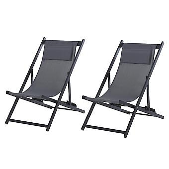 Outsunny Set Of 2 Textilene Chaise Lounge Recliner Chair w/ Adjustable Backrest Sun Bed Lounger Patio Furniture Deep Grey