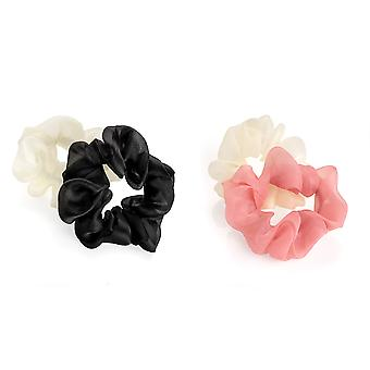 Two Piece 3.5cm Elasticated Scrunchie Set Black White Pink