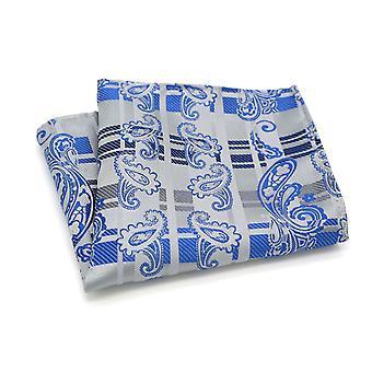 Silver tartan & bright blue paisley look pocket square