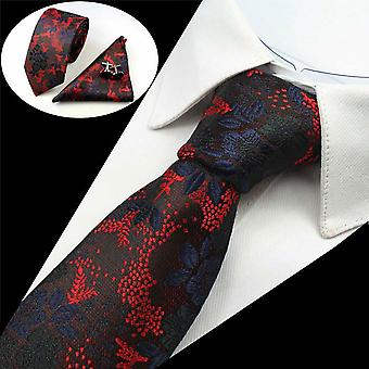 Red & blue floral matching tie cuff link & pocket square
