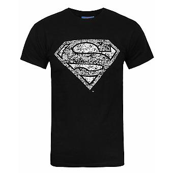 Superman Distressed Silber Logo Männer's T-Shirt
