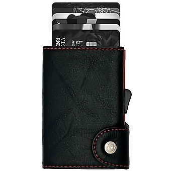 C-Secure Special Edition Single Classic Leather Card Holder - Black/Red