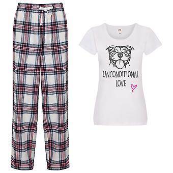 Ladies Staffy Unconditional Love Tartan Trouser Pyjamas