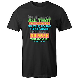 Boys Crew Neck Tee Short Sleeve Men's T Shirt- My Moves Are All That And A Bag Of Chips