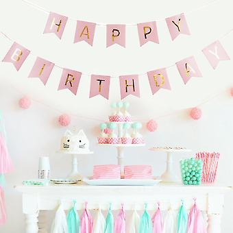 Happy Birthday Garland Set Birthday Decoration Tissue Paper Pompoms Pink Foil Spiral Deco - Pink