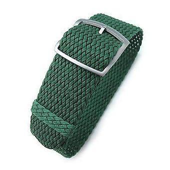 Strapcode fabric watch strap 20mm, 22mm miltat perlon watch strap, green, sandblasted ladder lock slider buckle