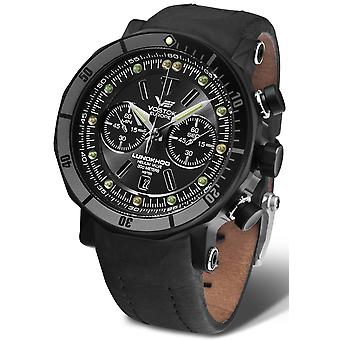 Vostok lunokhod multi quartz analog men's watch with cowhide bracelet 6S21-620E529