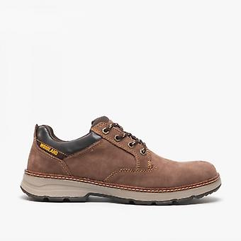 Woodland Elmer mens Leather Lace up schoenen bruin