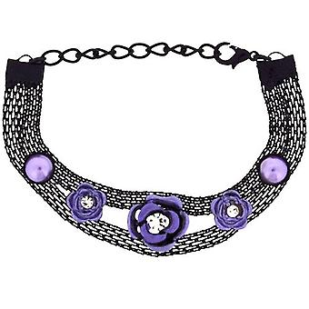 The Olivia Collection Girls-Ladies Black Mesh Bracelet with Purple Flower FJ214