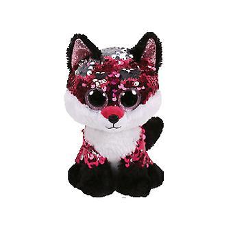 TY Flippable Jewel Pink/Black Sequin Fox Medium