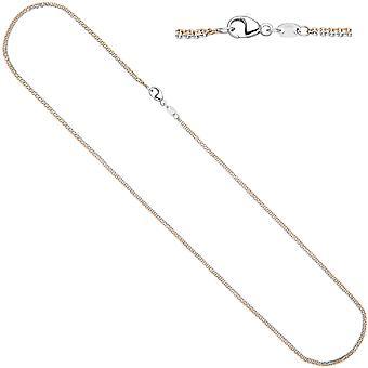 Damen Halskette Kette 585 Guld Rotgold Weißgold bicolor 42 cm Goldkette Karabiner