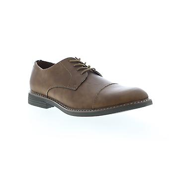 Izod Ike  Mens Brown Leather Casual Lace Up Oxfords Shoes