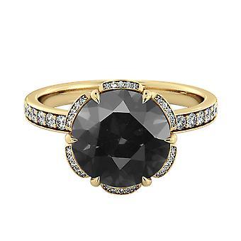 3.50 CTW 14K Yellow Gold Black Diamond Ring with Diamonds Flower Vintage Unique