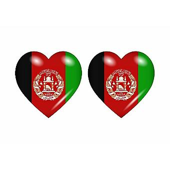 2x Stick Aufkleber Flagge Herz AFG afghanistan