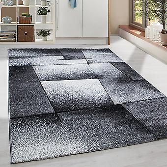 Short flor design rug contour cut Modern patterned living room rug grey