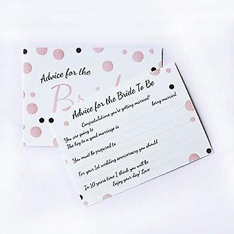 6 x Rose Gold Spotty Design Bride Råd Kort, Hen Party Spel