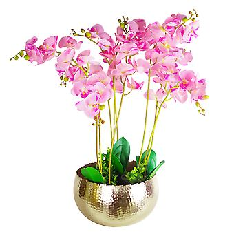 Large Artificial Orchids Display with XL Metal Bowl Planter 70x70cm