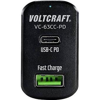 VOLTCRAFT VC-63CC-PD Car USB charger Max. output current 3 A 2 x USB, USB-C socket USB Power Delivery (USB-PD)