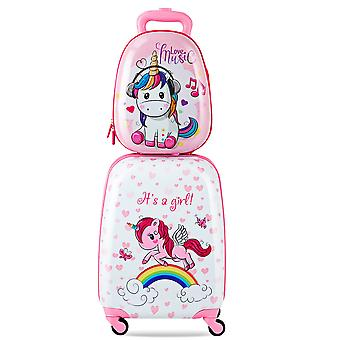 """2Pc 12"""" 16"""" ABS Kids Suitcase Backpack Luggage Set School Travel Lightweight New"""