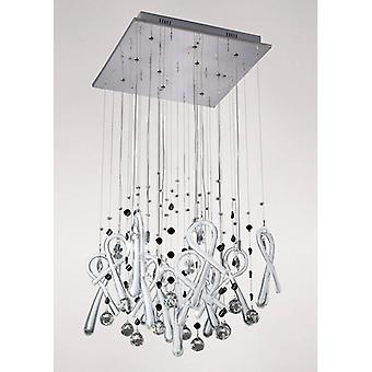 Class Square Pendant Light 10 Bulbs Polished Chrome / Frosted White / Crystal