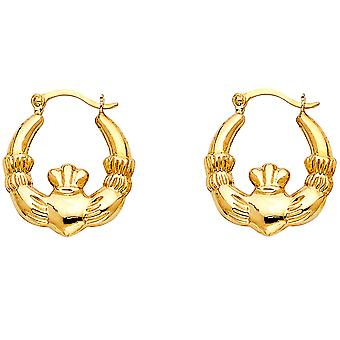 14k Yellow Gold Irish Claddagh Celtic Trinity Knot Hollow Hoop Earrings 15x15mm Jewelry Gifts for Women