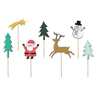 Merry Xmas Paper Cake Food Flag Toppers x 7 Christmas Party