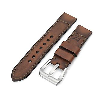 Strapcode calf leather watch strap 22mm gunny x mt '74' brown handmade quick release leather watch strap #73