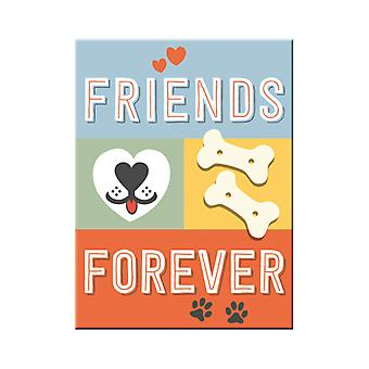 Dog Friends Forever Nostalgic Metal Magnet - Cracker Filler Gift