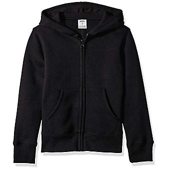 Essentials   Girls' Fleece Zip-up Hoodie, Black XL (12)