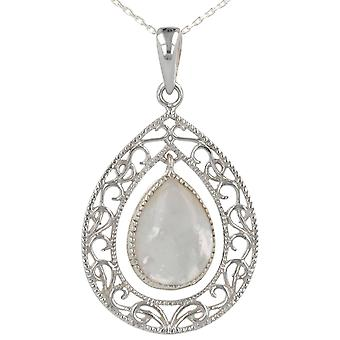 ADEN 925 Sterling Argent Blanc Nacre Forme Ovale Pendentif Collier (id 3350)