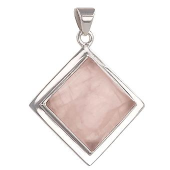 ADEN 925 Sterling Silver Pink Quartz Square Shape Pendant Necklace (id 4254)