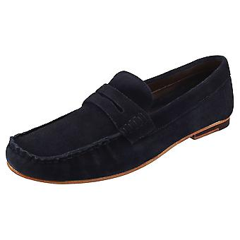 London Brogues Harry Mens Loafer Shoes in Navy