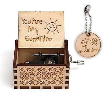 You Are My Sunshine Graved Antique Hand Cranked Wooden Music Box
