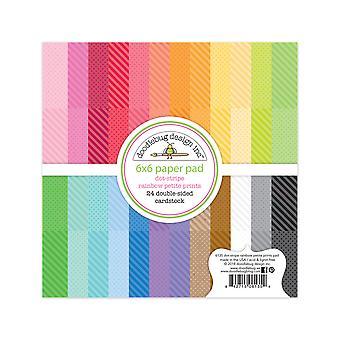 Doodlebug Design Dot-Stripe Rainbow 6x6 Inch Petite Prints Paper Pad