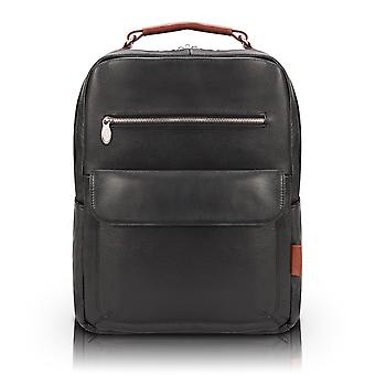 """19082, U Series, Logan 17"""" Leather, Two-Tone, Dual-Compartment, Laptop & Tablet Backpack - Black"""