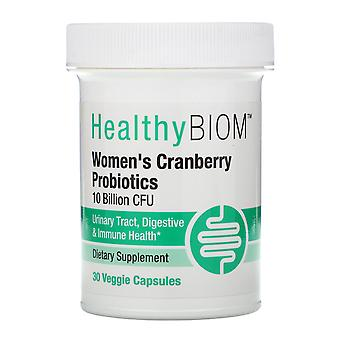 HealthyBiom, Women's Cranberry Probiotics, 10 Billion CFU, 30 Veggie Capsules