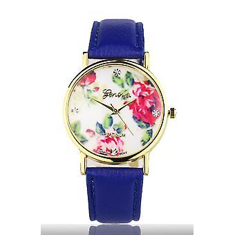 Dark blue Women's watch from Geneva flower swarovski crystal leather