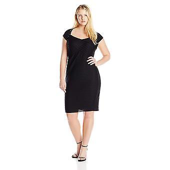 London Times Women-apos;s Plus Size Cap Sleeve Sheath Dress, Noir, 14