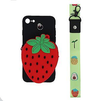 3D-Mobiltasche mit Münzfach, für iPhone 7/8 - Schwarz/Rot