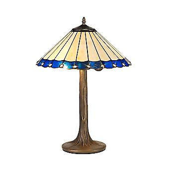 Luminosa Lighting - 2 Light Tree Like Table Lamp E27 With 40cm Tiffany Shade, Blue, Crystal, Aged Antique Brass